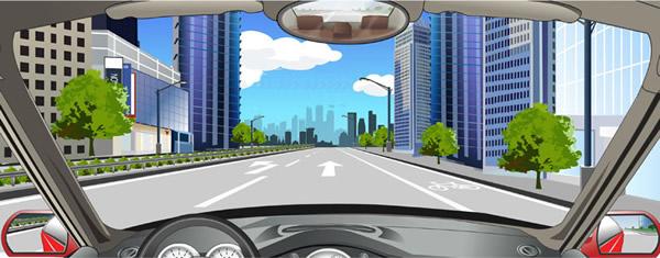 该车道路面导向箭头指示前方道路仅可直行.